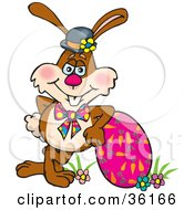 Clipart Illustration Of A Bunny Rabbit Resting Against A Carrot Patterned Easter Eggs by Dennis Holmes Designs
