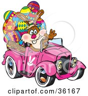 Clipart Illustration Of A Bunny Rabbit Waving And Driving A Pink Pickup Truck With Easter Eggs In The Back by Dennis Holmes Designs