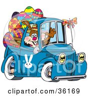Clipart Illustration Of A Bunny Rabbit Waving And Driving A Blue Pickup Truck With Easter Eggs In The Back by Dennis Holmes Designs