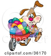 Bunny Rabbit Pushing Colorful Easter Eggs In A Red Wheelbarrow