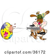 Bunny Rabbit Having A Blast While Decorating An Easter Egg With A Paintball Gun
