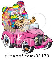 Dog Wearing Bunny Ears Waving And Driving A Pink Pickup Truck With Easter Eggs In The Back