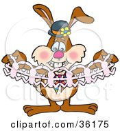 Bunny Rabbit Holding Open A Strand Of Paper Dolls