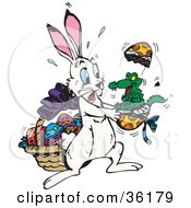 Clipart Illustration Of A Alligator Hatching Out Of An Easter Egg Scaring A White Rabbit by Dennis Holmes Designs