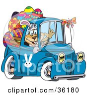 Clipart Illustration Of A Dog Wearing Bunny Ears Waving And Driving A Blue Pickup Truck With Easter Eggs In The Back by Dennis Holmes Designs