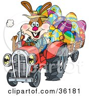 Bunny Rabbit Farmer Driving A Red Tractor And Transporting Easter Eggs In A Cart