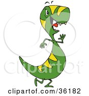 Clipart Illustration Of A Fussy Green And Yellow Tyrannosaurus Rex by Dennis Holmes Designs