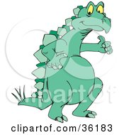 Clipart Illustration Of A Green Stegosaur Giving The Thumbs Up by Dennis Holmes Designs