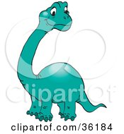 Clipart Illustration Of A Cute Green Brontosaurus Or Apatosaurus With A Long Neck by Dennis Holmes Designs