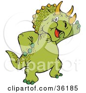 Clipart Illustration Of A Friendly Green Triceratops Waving by Dennis Holmes Designs