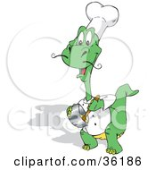 Clipart Illustration Of A Green Chef Dinosaur Stirring Food In A Pot