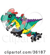 Clipart Illustration Of A Tyrannosaurus Rex Roller Blading To The Left