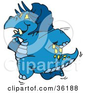 Clipart Illustration Of A Blue Triceratops Running To The Left