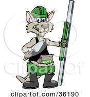 Clipart Illustration Of A Kangaroo Concrete Worker With Tools by Dennis Holmes Designs #COLLC36190-0087