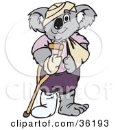 Clipart Illustration Of An Accident Prone Koala With Bandages Casts Slings And Crutches
