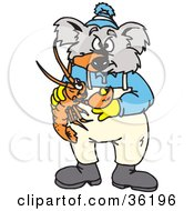 Clipart Illustration Of A Koala Being Pinched On The Nose By A Lobster by Dennis Holmes Designs