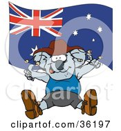 Clipart Illustration Of A Koala In Clothes Dancing In Front Of An Australian Flag