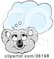 Clipart Illustration Of A Happy Female Koala With A Blue Thought Balloon