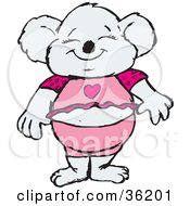Happy Female Koala In Pink Clothes