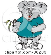 Clipart Illustration Of A Koala Holding A Branch Of Eucalyptus Leaves