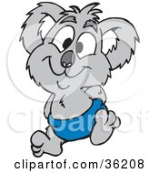 Clipart Illustration Of A Happy Baby Koala In A Blue Diaper