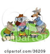 Wombat Koala And Kangaroo Drinking Coffee And Keeping Warm By A Campfire