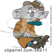 Clipart Illustration Of A Koala In A Coat Being Blown Away In The Wind