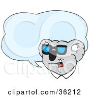 Clipart Illustration Of A Male Koala In Shades With A Blue Text Balloon