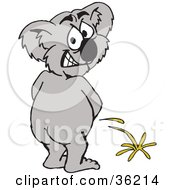 Clipart Illustration Of A Koala Peeing On Something And Looking Back