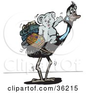Clipart Illustration Of A Traveling Koala With Luggage On The Back Of An Ostrich by Dennis Holmes Designs