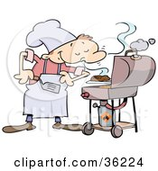 Clipart Illustration Of A Pleased Male Chef Smelling His Burgers On A Grill