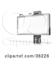 Clipart Illustration Of A Blank White Billboard Sign On A Post With A Shadow On A White Background by Frog974
