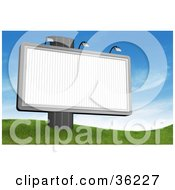 Clipart Illustration Of A Large Blank Billboard Sign On A Post At The Top Of A Grassy Hill Against A Sky Background by Frog974