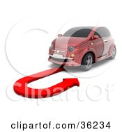 Clipart Illustration Of A Red Car Doing A U Turn On A Red Arrow As Instructed By A GPS System by KJ Pargeter