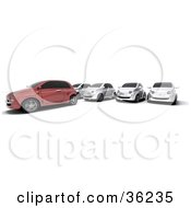 Clipart Illustration Of A Row Of Silver Cars Parked Behind A Red One