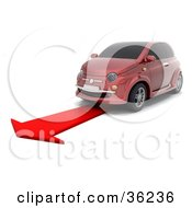 Clipart Illustration Of A Red Car Driving Forward On A Red Arrow As Instructed By A GPA System
