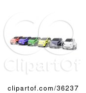 Clipart Illustration Of A Row Of Six Colorful Cars Lined Up On A Lot