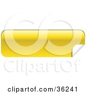 Clipart Illustration Of A Long Yellow Blank Peeling Sticker Or Label