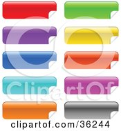 Clipart Illustration Of A Set Of Ten Colorful Long Peeling Stickers Or Labels