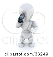 Clipart Illustration Of A 3d White Character Filmographer Holding A Handy Cam