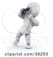 Clipart Illustration Of A Photographer 3d White Character Leaning Back To Snap A Photo