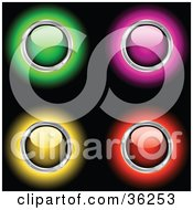 Clipart Illustration Of A Set Of Four Green Pink Yellow And Red Glowing Shiny Power Buttons Rimmed In Chrome