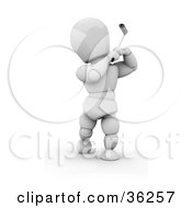 Clipart Illustration Of A 3d White Character Focusing And Swinging On A Golf Course by KJ Pargeter