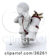 3d White Character Carrying A Golf Bag With Clubs by KJ Pargeter