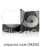 Clipart Illustration Of A DVD In A Case Standing Up Beside Stacked Cases by KJ Pargeter