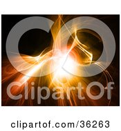 Clipart Illustration Of A Bursting Orange Fractal Background With Bright Light In The Center by KJ Pargeter
