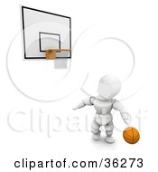 3d White Character With A Basketball Looking Up At A Hoop