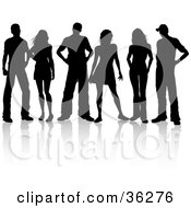 Clipart Illustration Of A Group Of Three Silhouetted Couples Standing