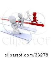 Clipart Illustration Of A Race Between One Red And Three White Characters Running On Arrows by KJ Pargeter