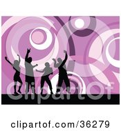 Clipart Illustration Of Four Black Silhouetted Ladies And Guys Dancing Over A Funky Purple Circle Background